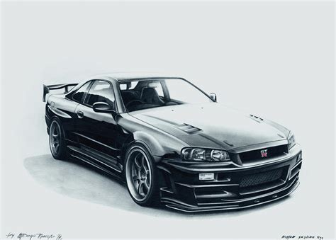 nissan skyline drawing nissan skyline r34 art drawing by racing is my life on