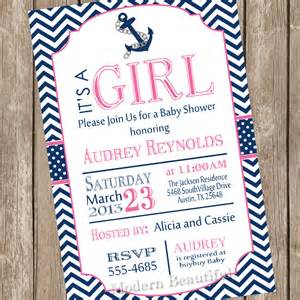 nautical baby shower invitation pink navy anchor