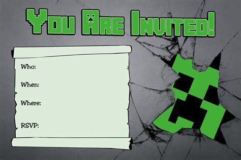 minecraft birthday invitations minecraft birthday invitations with a