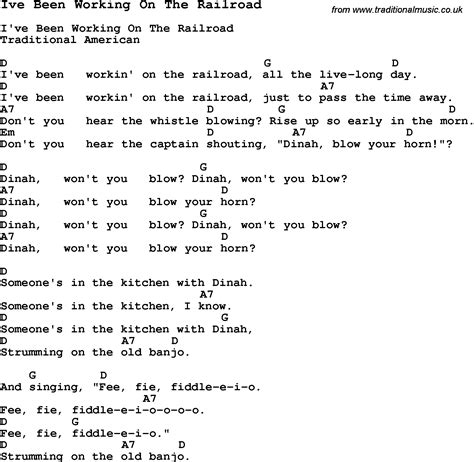 printable lyrics to i ve been working on the railroad traditional song ive been working on the railroad with