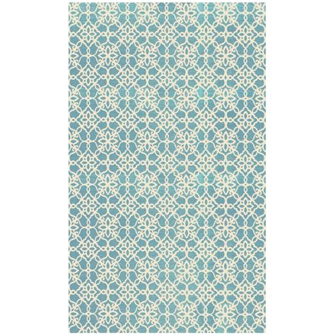 ruggable floral tiles aqua blue and white 3 ft x 5 ft