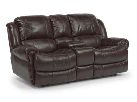 recliner couch with console flexsteel living room leather power reclining loveseat