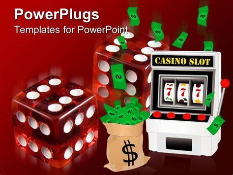 Powerpoint Template Casino Theme With Two Transparent Red Dice Slot Machine And Sack Of Money Powerpoint Templates For Machines