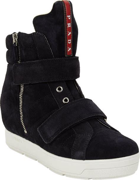 Prada Sneakers Prada Wedges prada linea rossa doublestrap wedge sneaker in blue lyst