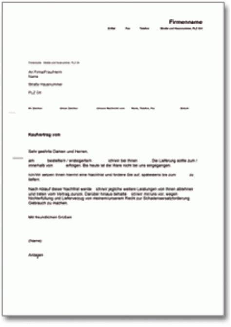 Kostenlose Vorlage Mahnung Nachfristsetzung Mit R 252 Cktrittsandrohung Bei Lieferverzug