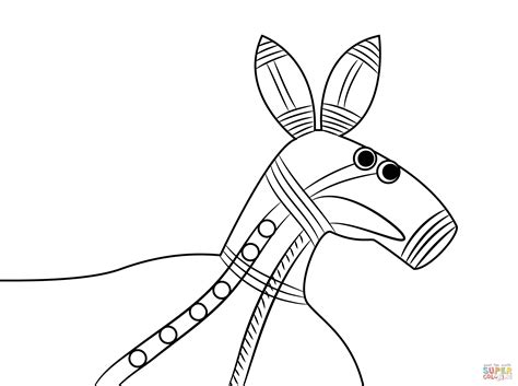 aboriginal painting of kangaroo head coloring page free