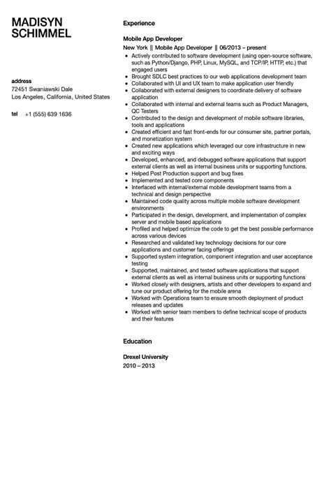 mobile application developer resume sle velvet
