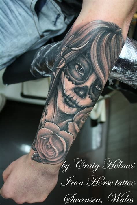 day of the dead tattoos with roses flowers and day of the dead on left sleeve