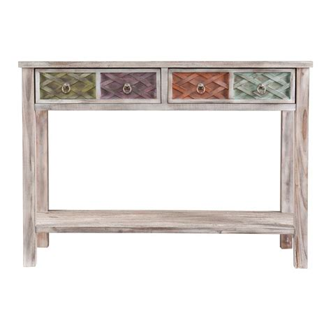 White Console Table Southern Enterprises Erie White Washed And Multi Colored Storage Console Table Hd159638 The