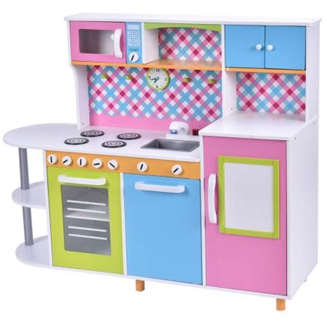 costway new wood kitchen toy kids cooking pretend play set