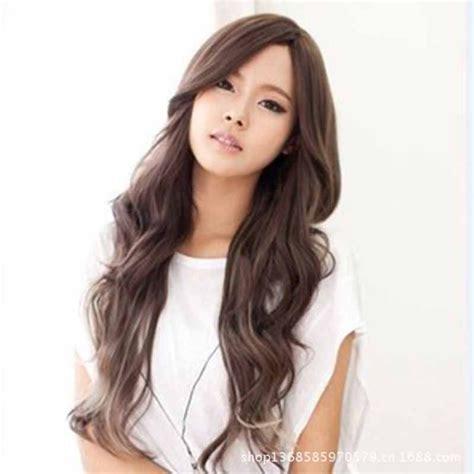long hair perm korean for women fashion long black light brown curly wigs korean hairstyle