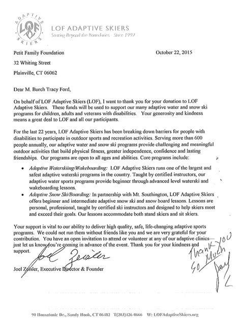 thank you letter to a dedicated petit family foundation grants awarded best free