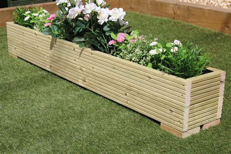 Painted Garden Planters by Large Wooden Garden Planter Trough Painted In Cuprinol