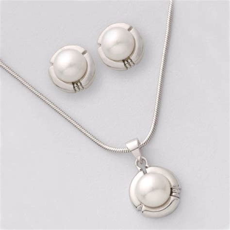 jilco inc biwa pearl earrings and necklace set 176128