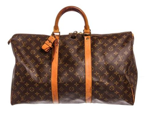louis vuitton keepall duffle monogram  cm luggage brown
