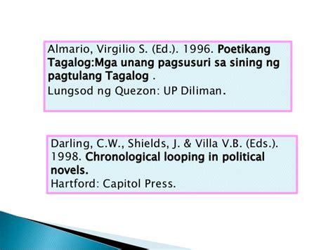 apa format tagalog ang listahan ng mga sanggunian filipino