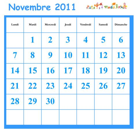 Calendrier Du Mois De Novembre Novembre 2011 Grille Du Calendrier A Cocher T 234 Te 224 Modeler