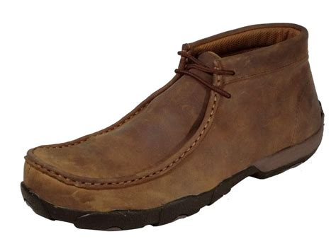 twisted x work shoes mens driving mocs steel toe saddle