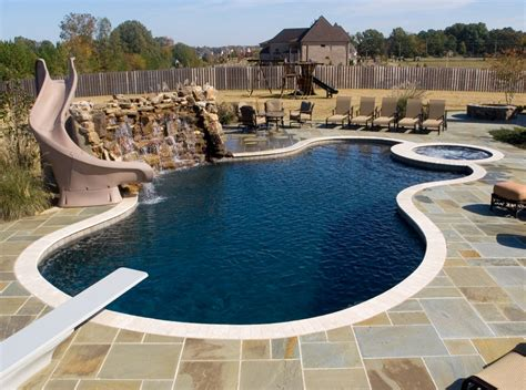 free form and style free style swimming pools construction freeform swimming pool with water wall slide diving