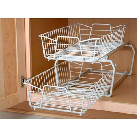 kitchen cabinet tray organizer 2 tier kitchen under cabinet pantry wire sliding shelf