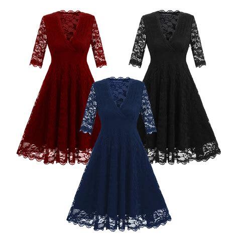 3 4 Sleeve A Line Midi Dress lace 3 4 sleeve cocktail wedding