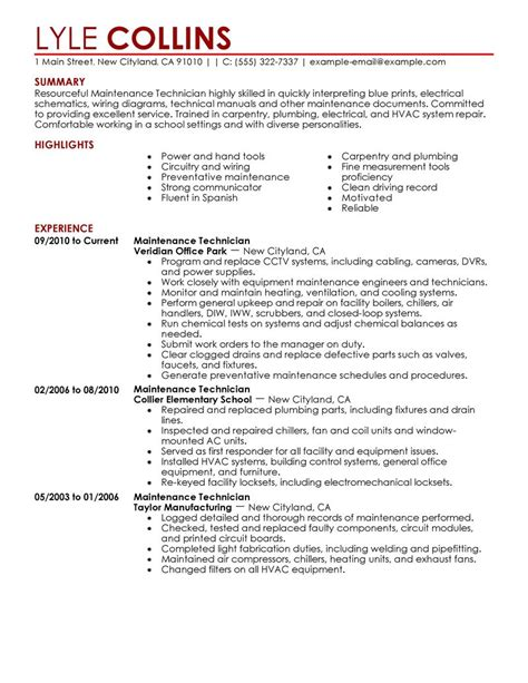 maintenance technician resume format maintenance technician resume sle technician resumes