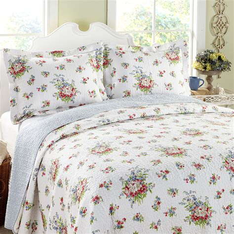 laura ashley quilts and coverlets laura ashley roseland floral 3 piece cotton reversible