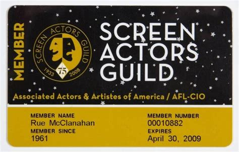 Screen Actors Guild Auction by Rue Mcclanahan Screen Actors Guild Card Current Price 150