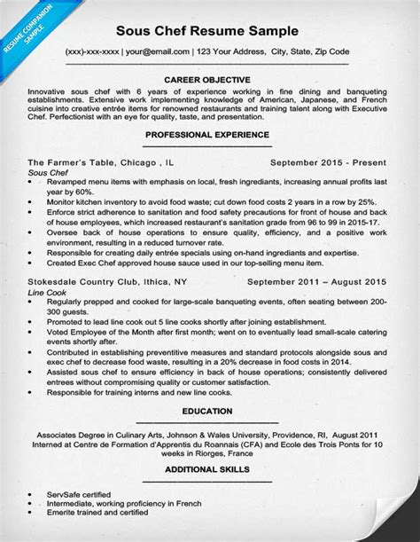 Resume Exles Cook Restaurant Downloadable Chef Resume Sles Writing Tips Resume Companion