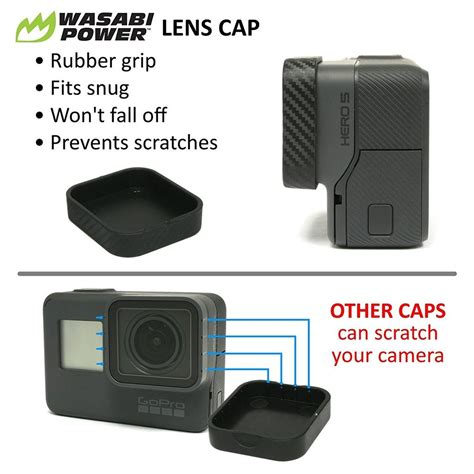 Wasabi Gopro wasabi power accessory bundle for gopro hero6 hero5 black lens cap screen protection