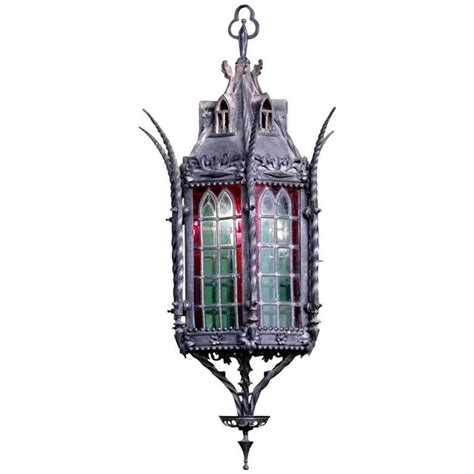 chandelier stained glass wrought iron lantern chandelier with stained glass at 1stdibs