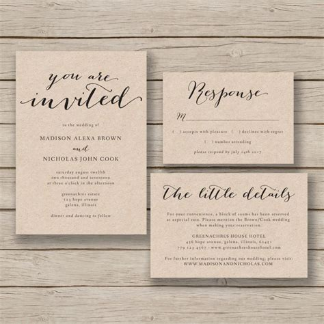 diy wedding invitation templates free printable wedding invitation template rustic invitation