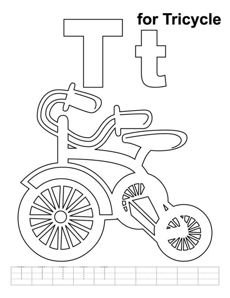 tricycle coloring pages preschool t for tricycle coloring page with handwriting practice