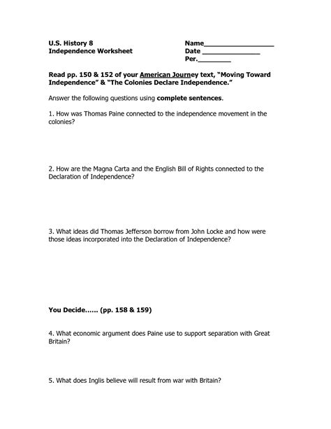 printable declaration of independence 17 best images of english bill of rights worksheet