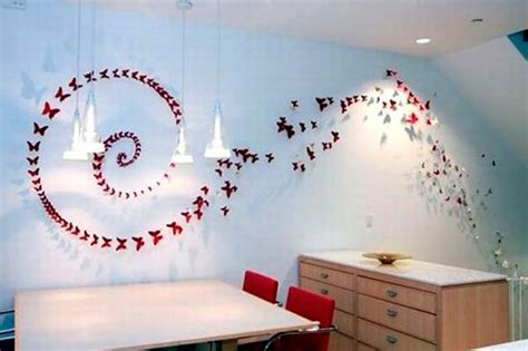 Handmade Wall Decorations - handmade butterflies decorations on walls paper craft ideas