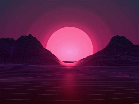 sun  retro wave mountains wallpaper hd artist