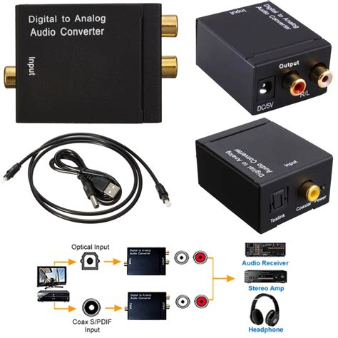 converter audio digital optical coax coaxial toslink to analog audio