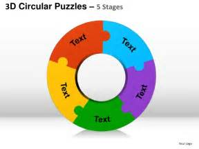 five puzzle template 3d circular puzzles 5 stages powerpoint presentation templates
