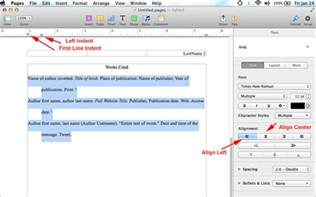 how to do mla format using pages on mac mla format