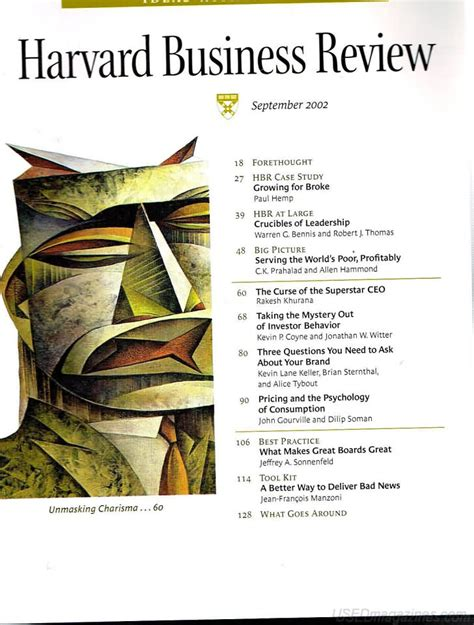 Harvard Mba Program Details by Oldmags Harvard Business Review September 2002