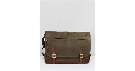 Fossil Defender Tote lyst fossil defender messenger bag in waxed canvas in green for