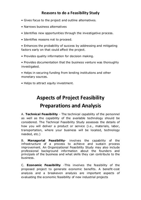 aspects of project feasibility preparations and analysis