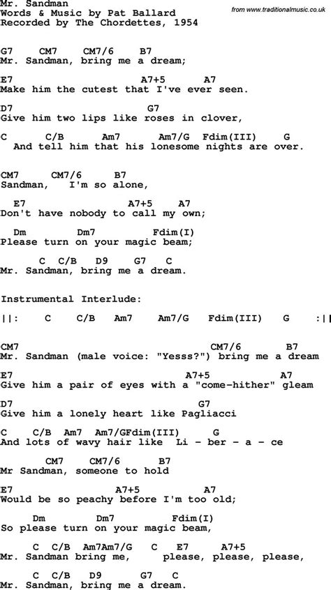 guitar lyrics song lyrics with guitar chords for mr sandman the