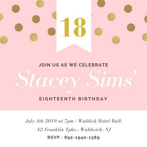 Customize 955 18th Birthday Invitation Templates Online Canva 18th Birthday Invitation Templates