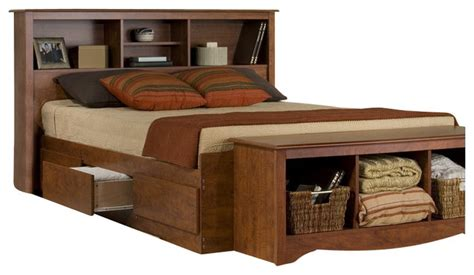 sonoma cherry queen platform storage bedroom set at gowfb prepac monterey platform storage bed transitional
