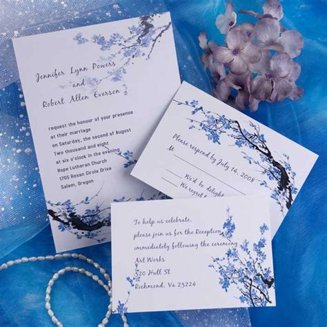 Cheap Blue blossom floral wedding invitations EWI165 as low as $0.94