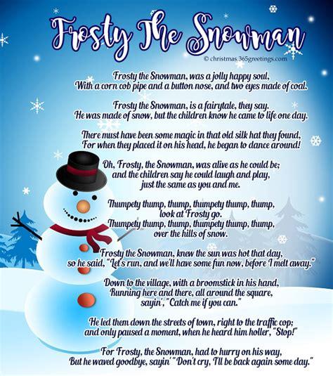 printable lyrics for frosty the snowman popular christmas carols christmas celebration