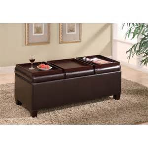 Leather Storage Ottoman Ottomans Contemporary Faux Leather Storage Ottoman With Reversible Trays