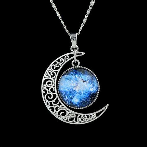 Rhinestone Moon Pendant Necklace trendy jewelry cheap rhinestone earth and moon pendant