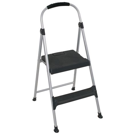 Cosco Two Step Stool by Cosco 3 18 Ft 2 Step Aluminum Step Stool Ladder With Plastic Steps 225 Lb Load Capacity
